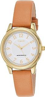 Timex Women's Quartz Watch, Analog Display and Leather Strap TW2R87000
