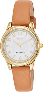 Timex Women's Quartz Watch, Analog Display and Leather Strap TW2R87000