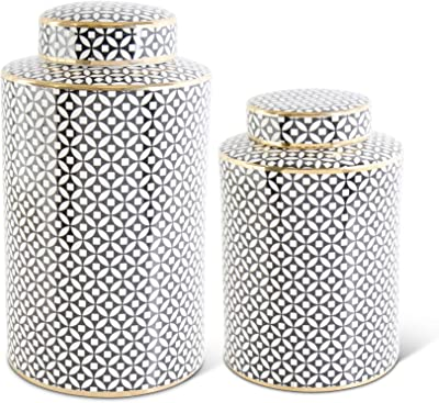 K&K Interiors 16947D Set of 2 Black & White Circle with Diamond Pattern Lidded Large Round Jars, Black and White