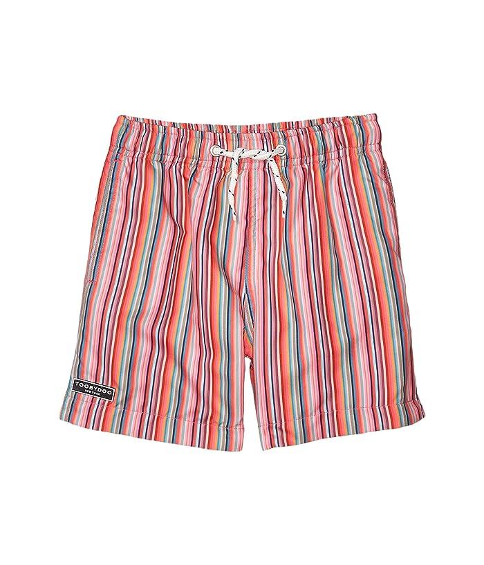 Toobydoo  Retro Rainbow Stripes Classic Swim Shorts (Toddler/Little Kids/Big Kids) (Blue/Coral) Boys Swimwear