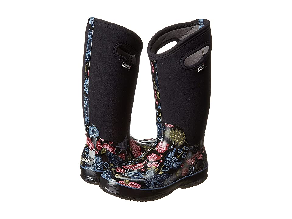 Bogs Classic Winter Blooms Tall (Black Multi) Women