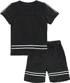 KISBINI Boys Cotton Casual Shirt and Sport Panties Suit 2-Pc Set Never Cold 5T White-Blue