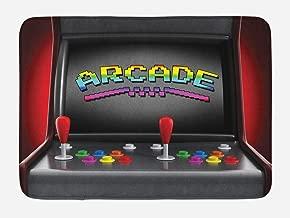 Ambesonne Video Games Bath Mat, Arcade Machine Retro Gaming Fun Joystick Buttons Vintage 80's 90's Electronic, Plush Bathroom Decor Mat with Non Slip Backing, 29.5