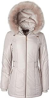 Women's Midlength Down Alternative Puffer Coat Fur Trim Plush Lined Detachable Hood