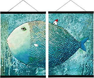 2 Pack MagneticPoster FrameHanger,16x20 16x24 16x22 Magnet Poster Hanger for Posters, Kids Paintings, Photos, Maps, Scro...