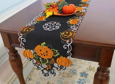 CloudSun Halloween Holiday Table Runners for Fall Thanksgiving Party Home Kitchen Dinner Dresser Scarf Decoration,Cutouts App