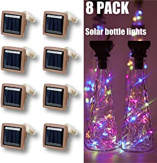 Wine Bottle Cork String Lights Solar Powered,15 LED Cork Shaped Silver Copper Wire Fairy Mini String Lights Waterproof for DIY Christmas Halloween Wedding Party Decor,8 Pack (Multicolor)