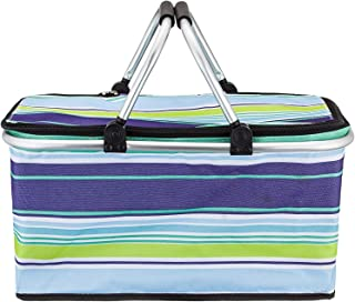 AMDX Large But Foldable Picnic Basket Insulated- Strong Aluminum Frame - Waterproof Lining - Collapsible Design for Easy S...