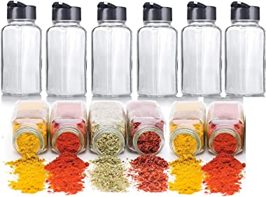 GINOYA BROTHERS Glass Jars & Containers Spice Bottlers With Airtight Lid For Kitchen Storage - 120 ML - 6 Pieces