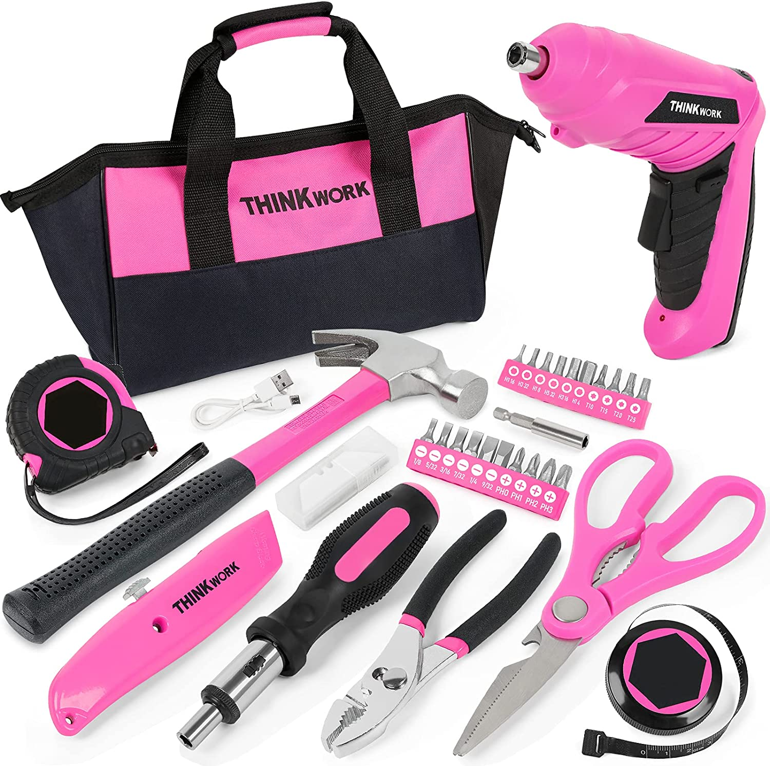 THINKWORK 40-Piece Pink Tool Set - Ladies Hand Tool Set with 3.6V Rotatable Electric Screwdriver - Long-lasting and Durable-Very Suitable for Gifts, Perfect for DIY, Daily Home Decoration