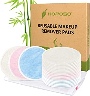HOPOSO Reusable Cotton Rounds 20 Pack Zero Waste Organic Bamboo Makeup Remover Pads Eco-friendly Washable Wipes with Laundry Bag
