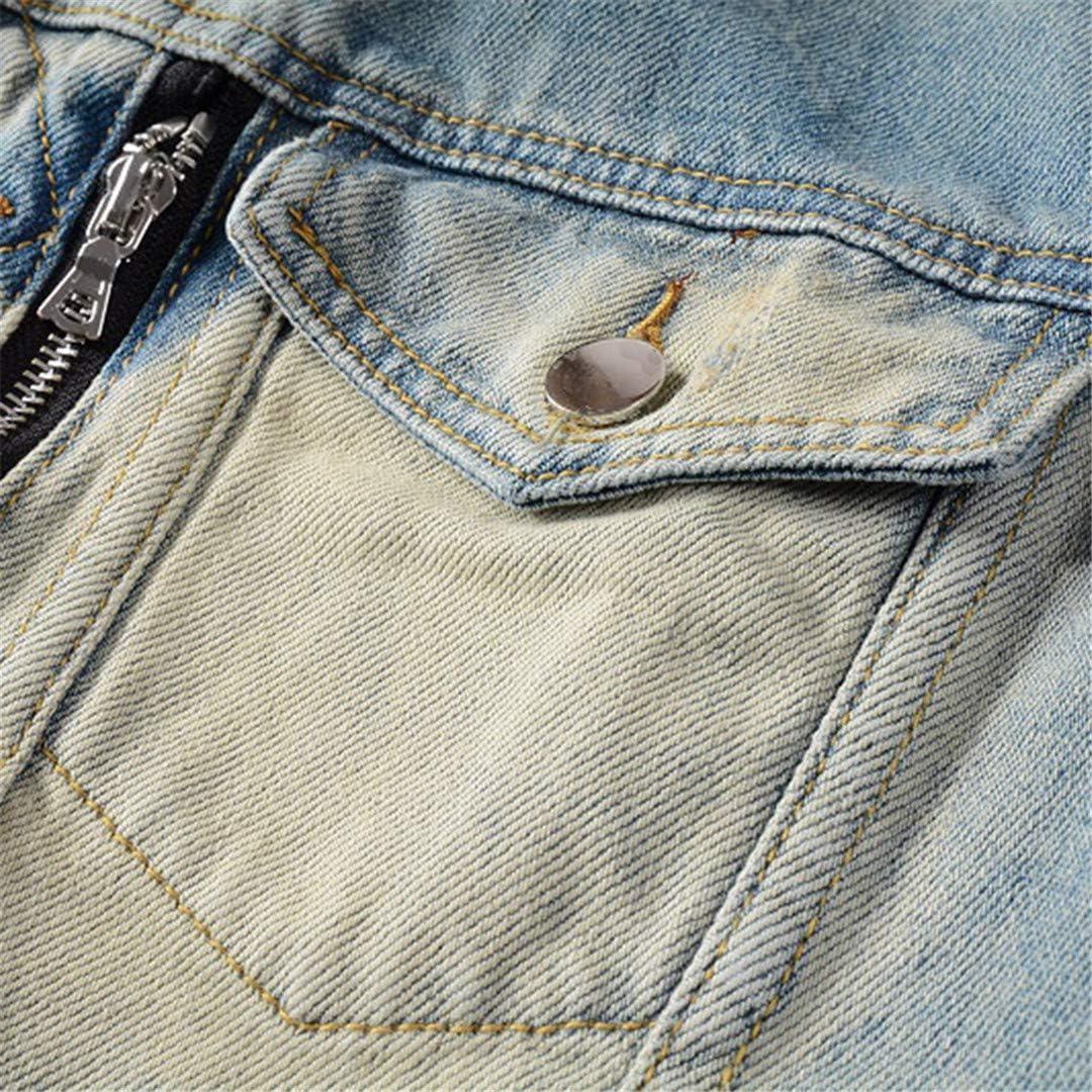Har&Jensilln Men's Biker Jean Streetwear Pleated Patchwork Holes Ripped Coat Vintage Blue Outerwear