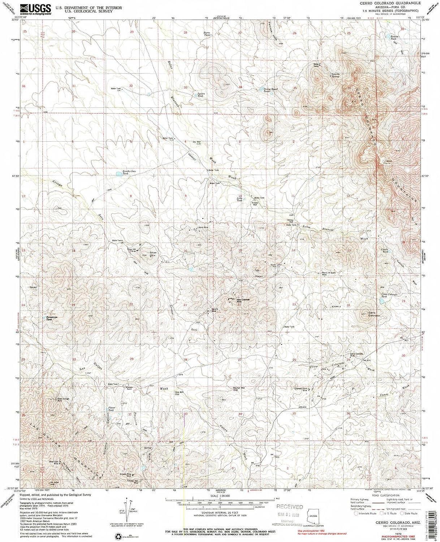 Cerro colorado AZ topo map, 1 24000 Scale, 7.5 X 7.5 Minute, Historical, 1979, Updated 1985, 26.8 x 22 in