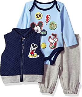 Disney Baby Boys' Mickey Mouse 3 Piece Vest, Bodysuit OR T-Shirt, and Pant Set