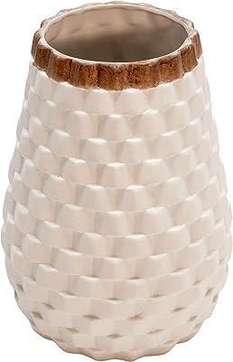 """Sagebrook Home 9"""""""" Textured Vase, White, 6 x 6 x 9 (15737)"""