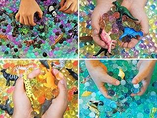 SENSORY4U Water Beads Sensory Bin Therapy Kits - 4 Dew Drop Sets Included - Ocean Explorers Jungle Excursion, African Safari, Dinosaur Discovery.