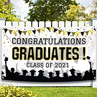 XtraLarge Congratulations Graduation Banner, Black ,Gold and White -72x44 Inch | Class of 2021 Decor College Graduation Pa...