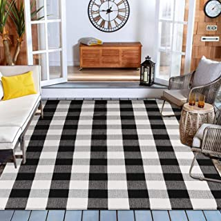 Black/White Buffalo Plaid Checkered Rug 47'' x 71'', KIMODE Farmhouse..
