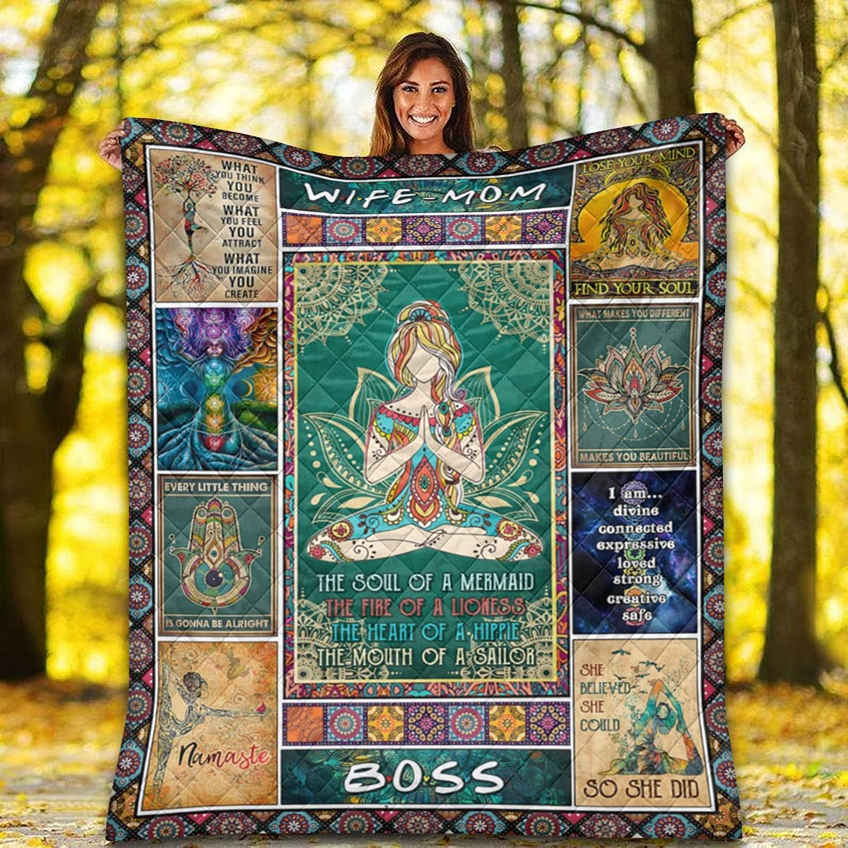 Quilt for Wife Mom - Over item handling Yoga Shipping included Hippie Mandala Quil Pattern Girl