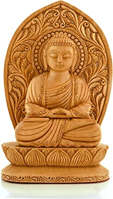 CKHandicrafts Buddha Statue Handmade Lord Buddha Sitting Posture with Leaf Fine Carved Wooden 8 Inch Sculpture