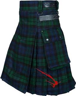 Black Watch 16oz Leather Straps Utility Kilt For Active Men