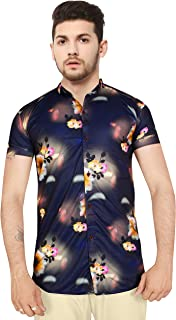 Z Axis Men's Imported Lycra Colored Digital Print Casual Half Sleeves Shirt