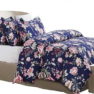 Vaulia Soft Microfiber Duvet Cover Set, Floral Pattern Design - Navy, Queen