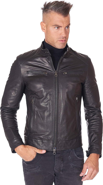 Black wrinkled goat leather biker jacket four zipper pockets