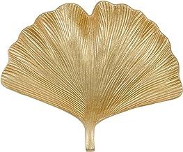 "Sagebrook Home 14323 Resin 14"" Ginkgo Plate, Gold, 14''L x 12.5''W x 3''H"