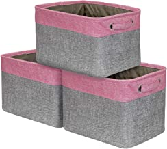 Sorbus Storage Large Basket Set [3-Pack] - 15 L x 10 W x 9 H - Big Rectangular Fabric Collapsible Organizer Bin Box with Carry Handles for Linens, Towels, Toys, Clothes, Kids Room, Nursery (Pink)