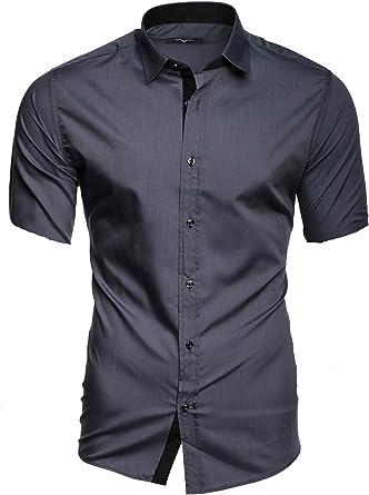 Kayhan Camisas Hombres Camisa Hombre Manga Corta Ropa Camisas de Vestir Slim fácil de Hierro Fit SML XL XXL-6XL - Modello Florida + Maimi