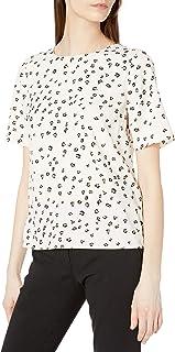 Amazon Brand - Lark & Ro Women's Standard Crepe de Chine Crew Neck Short Sleeve Shirt