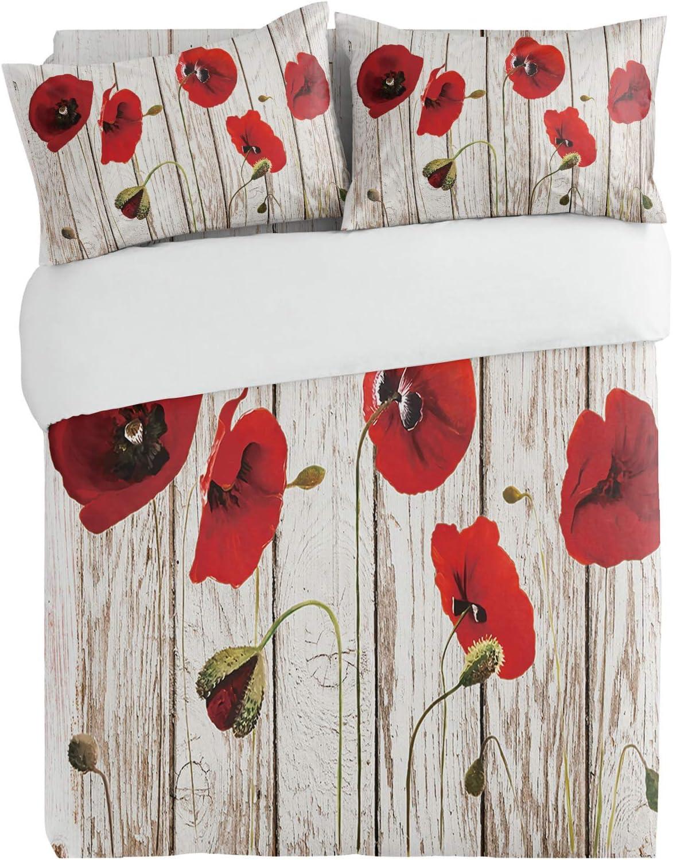SUN-Shine 3PiecesBeddingDuvetCoverSetRed Poppy Dealing full price reduction Supe New Free Shipping Flower