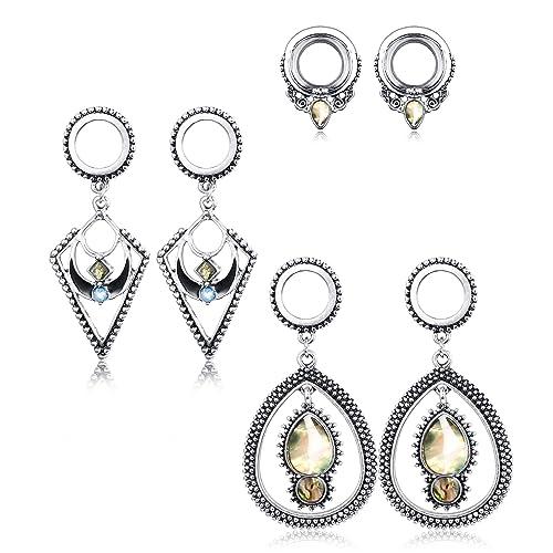 OUFER 316L Stainless Steel Ear Plugs Gauges Pink Opalite Ear Gauges Earrings Piercing Jewelry