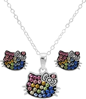 "Hello Kitty Women and Girls Jewelry, Sterling Silver Rainbow Crystal Pendant and Stud Earrings Set, 18"" Chain"