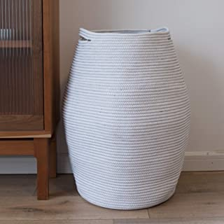LA JOLIE MUSE Large Cotton Rope Storage Basket Organizer with Handles, Jumbo Laundry Hamper for Living Room Bathroom Bedro...