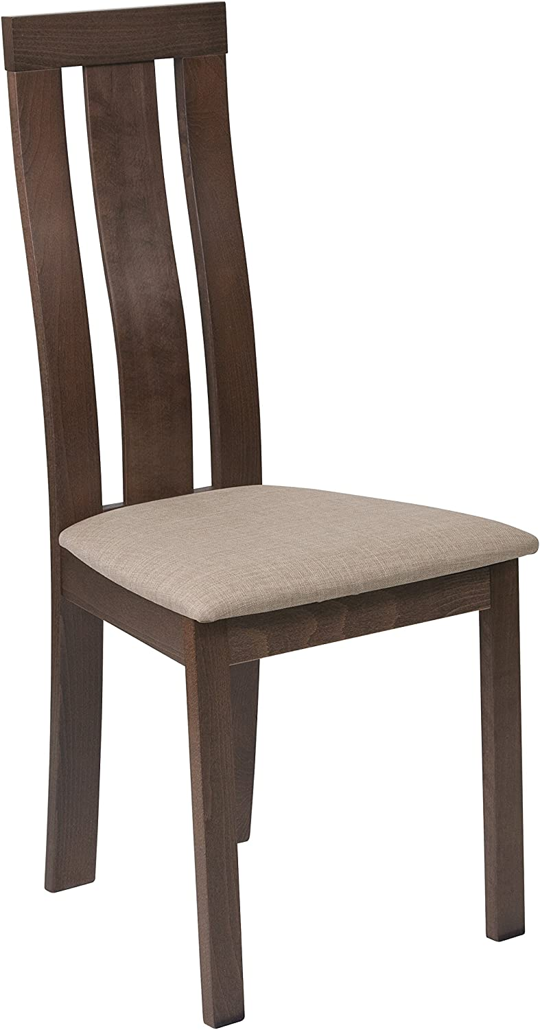 Flash Furniture Glenwood Walnut Finish Wood Dining Chair with greenical Wide Slat Back & Magnolia Brown Fabric Seat