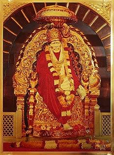 DollsofIndia Shirdi Sai Baba - Golden Metallic Poster - 15.75 x 12 inches - Unframed (SQ70)