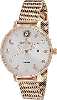 ساعة كرونوغراف بمينا بيضاء وسوار شبكي من الستانلس ستيل للنساء من نافي فورس - NF5009-RGW
