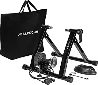 Alpcour Bike Trainer Stand – Portable Stainless Steel Indoor Trainer w/ Magnetic Flywheel, Noise Reduction, 6 Resistance S...