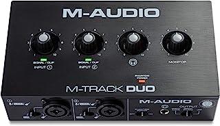 M-Audio - M-Track Duo Interfaz de audio USB para grabación, transmisión y podcasting con entradas dobles XLR, línea y DI, ...