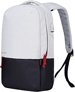 BOLANG Water Resistant Laptop Backpack with USB Charging Port Travel School Daypack 8849 (White/