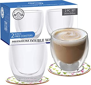 Double Walled Glass Coffee Cup - Set of 2 Cappuccino Cups - Handmade Double Wall Glasses Tumbler Coffee Cups Keep Drinks Hot or Cold - Glass Cup to Enjoy Mugs of Tea - Short Size: 8.5oz/250ml