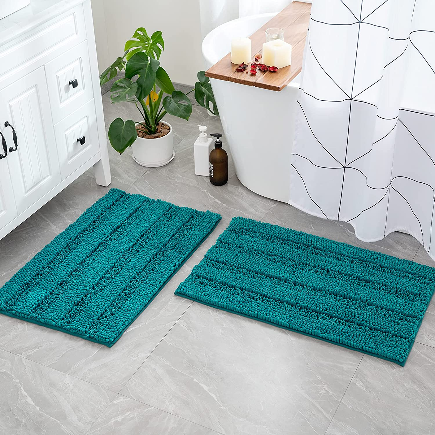 Mail order MIULEE Striped Bathroom Rugs and Mats Slip half Non Set 2 Soft Piece