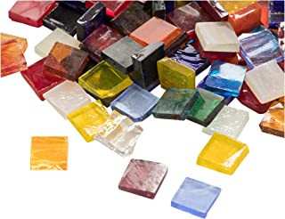 Mosaic Tiles - 1000-Pack Glass Mosaic Pieces, Mosaic Chips, Stained Glass Mosaic, Textured Glass Mosaic, for Decoration, Craft, DIY Art Projects, Square, 40 Assorted Colors, 0.4 x 0.4 x 0.1 inches