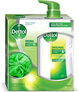 Dettol Original Anti-Bacterial Body Wash 500ml With Puff - Pine