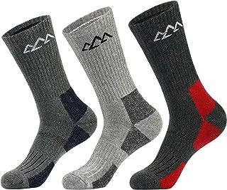 SPLF 3 Pairs Men's Hiking Socks, Full Thickness Cushion Crew Socks for Trekking Camping Climbing Outdoor Sports