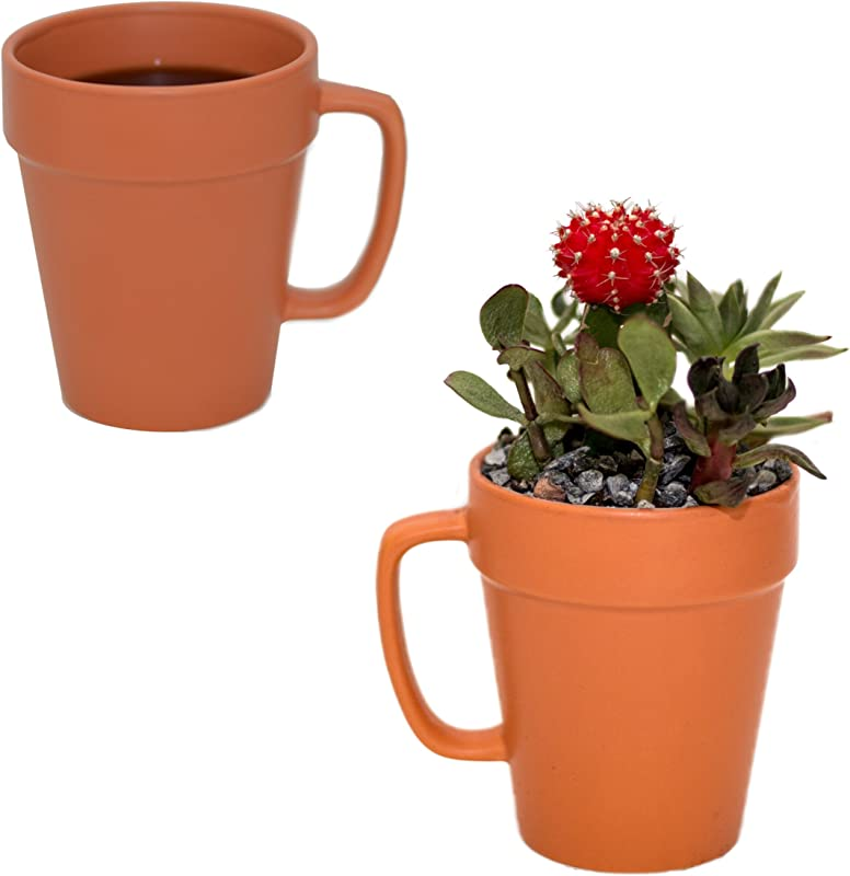 Culver 14 Ounce Flower Pot Ceramic Mug Set Of 2 Terra Cotta Color