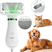NACRL Dog Hair Dryer, Pet Grooming Hair Blower with Slicker Brush, Adjustable Temperature 2 Settings & Low Noise, 2 in 1 Portable Home Pet Care & Hair Styling Grooming for Medium Small Large Dogs Cat