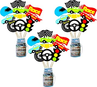 BeYumi 30 Pack Racecar Centerpiece Sticks Bobber Table Toppers Cupcake Toppers-Let's Go Racing Themed Party Favors Birthday Ideas Photo Booth Props Decorations